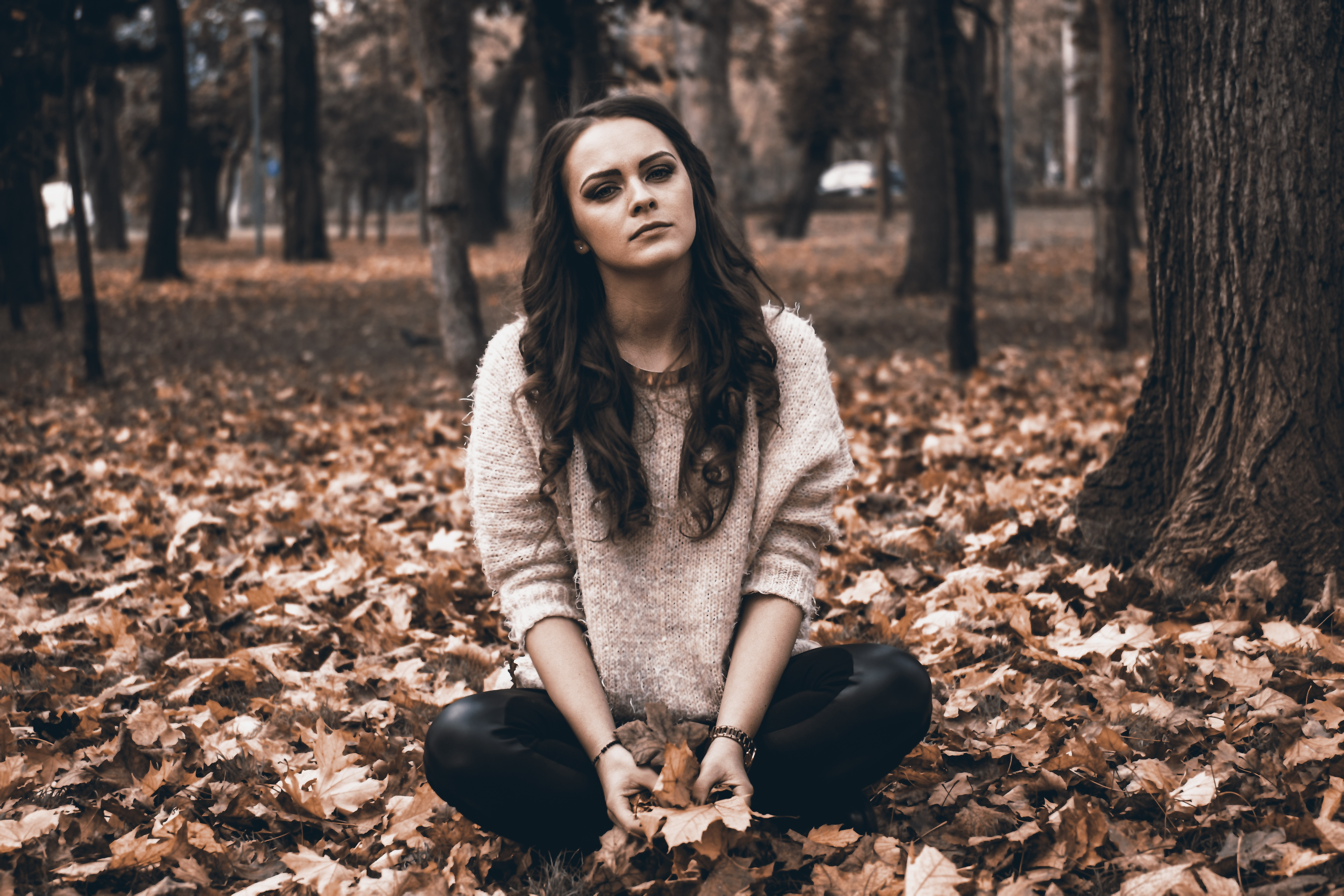 depressed girl in forest